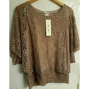 Brittany Black lady's casual brown lace top